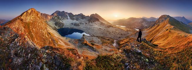 Beautiful dramatic sunset in the mountains. Landscape with sun, Slovakia Tatras panorama © TTstudio