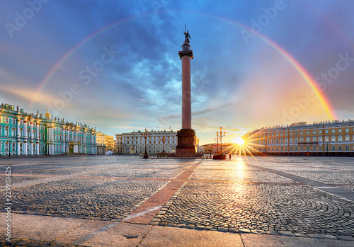 Saint Petersburg with rainbow over winter palace square, Russia