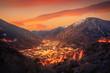 Leinwanddruck Bild - Andorra la Vella skyline at sunset Pyrenees