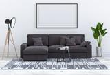 mock up poster frame in interior room , 3D render - 229908230