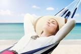 Sleeping Woman Relaxing In Hammock - 229917070