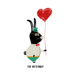 Funny Rabbit Holding Heart Balloon.