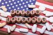 Opioid Epidemic Text With Prescription Pills Over American Flag