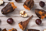 roasted sweet potatoes and chestnuts - 229923011