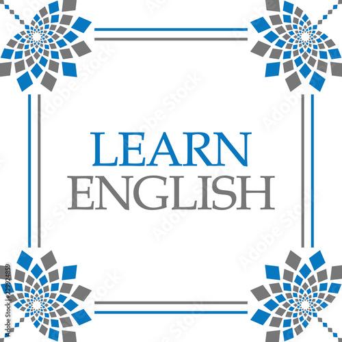Learn English Blue Grey Fl Square