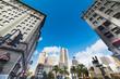 Union square in San Franciscisco under a blue sky