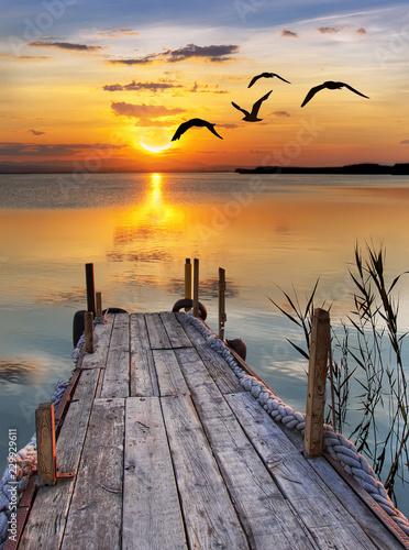 sunset on beach © murat