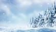 Leinwanddruck Bild - romantischer winterwald