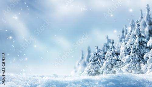 Leinwanddruck Bild romantischer winterwald