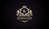 Luxury lion crest logo - royal lion vector template