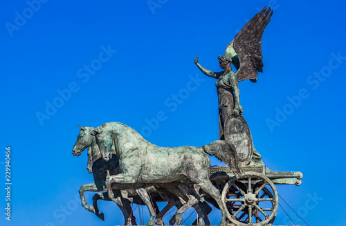 Statue Quadriga dell'Unita on Vittoriano in Rome, Italy - 229940456