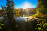 Beautiful autumn reflected in the lake in Poland - 229962631