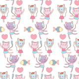 ballerina cats and fish decorated wallpaper