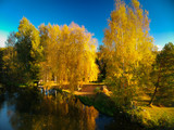 Beautiful autumnal scenery at the lake in Poland - 229971449