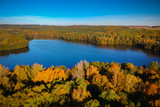 Autumnal scenery at the lake in Poland - 229971487