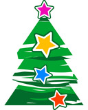 abstract christmas tree with stars