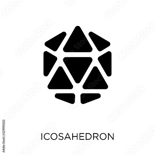 Icosahedron icon. Icosahedron symbol design from Geometry collection.