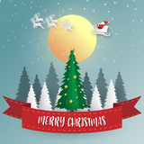Merry Christmas and Happy New Year background. Santa Claus, Snowman and Christmas tree ,paper art and digital craft style. Vector illustration. - 230005298