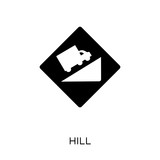 Hill sign icon. Hill sign symbol design from Traffic signs collection.