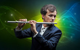 Serious classical flutist with fabled sparkling wallpaper