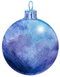 Watercolor violet Christmas ball isolated on a white background.