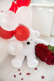 Valentine's Day present is a polar bear and a bouquet of 101 roses, white and red balloons - 230042490