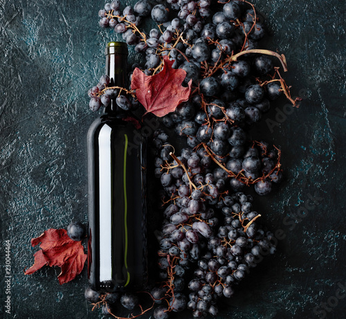Bottle of red wine and grapes. - 230044464