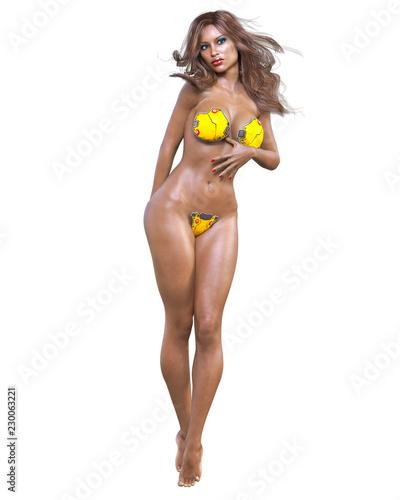 b77a7c2acdf66 Tall sexy mulatto woman in minimalist futuristic lingerie. Metal bra and  panties. Conceptual fashion