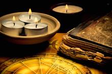 "Постер, картина, фотообои ""horoscope with zodiac signs, candles, old book like astrology, magic, esoteric concept """