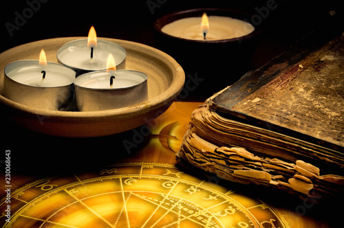 horoscope with zodiac signs, candles, old book like astrology, magic, esoteric concept