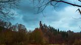 Panoramic view of Slovakia forest and Oravský Podzámok village