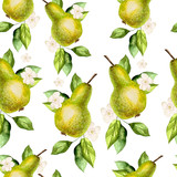 Watercolor Pattern with pears and flowers.  - 230075231