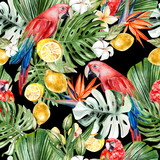 Beautiful watercolor tropical pattern with leaves, flowers,fruits and parrots.  - 230075235