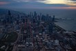 View of the Chicago skyline at dawn