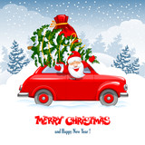 Christmas Character Santa In The Car - 230084612