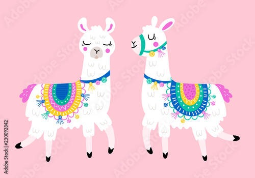 Cute llama set for design. Childish print for t-shirt, apparel, cards and nursery decoration - 230092842