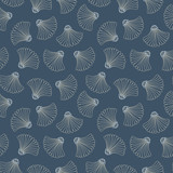 Indigo Hand-Drawn Japanese Abstract Fans Vector Seamless Pattern. Traditional Katazome Katagami Geo Resist Dye Style - 230107066