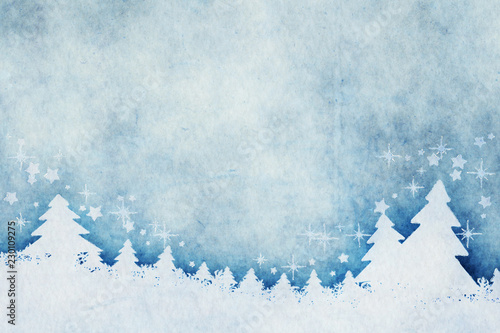 Leinwanddruck Bild blue christmas background watercolors