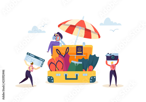 Happy Business Characters Preparing to Beach Vacation. Office Workers People on Tropical Resort with Cocktail. Tourism and Travel. Vector illustration - 230112446