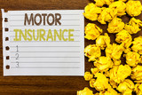 Handwriting text Motor Insurance. Concept meaning Provides financial compensation to cover any injuries. - 230116020