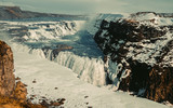 Iceland landscape. Gullfoss - is one of the most famous Icelandic waterfalls. Tourist attraction, panoramic view.