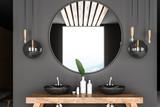 Gray bathroom interior, double sink - 230131629