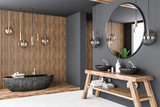 Gray and wooden bathroom corner - 230131643