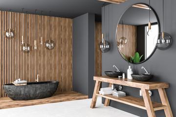 Gray and wooden bathroom corner © denisismagilov