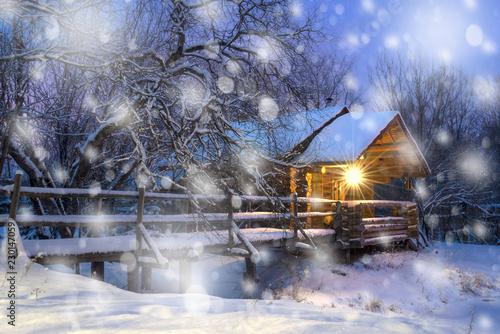 Leinwanddruck Bild Snowy night on Christmas eve.