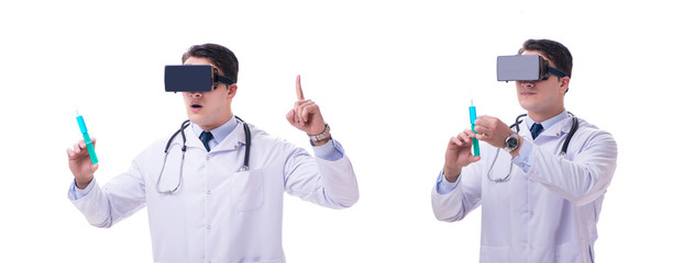 Doctor wearing a vr virtual reality headset isolated on white ba