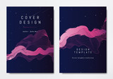 Front and back of book cover template design, abstract pink striped lines on dark blue, stars and space theme