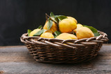 a large woven basket filled with yellow quince with leaves and stems on a rustic table with a black background - 230163670