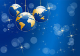 Christmas tree, vector postcard in blue. Balls in the shape of planet earth, background - 230165234