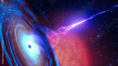 Abstract space wallpaper. Black hole with nebula over colorful stars and cloud fields in outer space. Elements of this image furnished by NASA. - 230172622